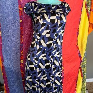 Antonio Melani Black and Blue 100% Silk Dress 2
